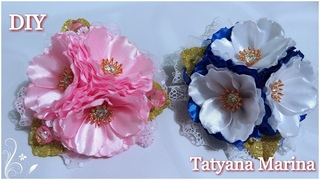 Цветы из атласной ленты 2.5см/ Канзаши МК/ DIY
