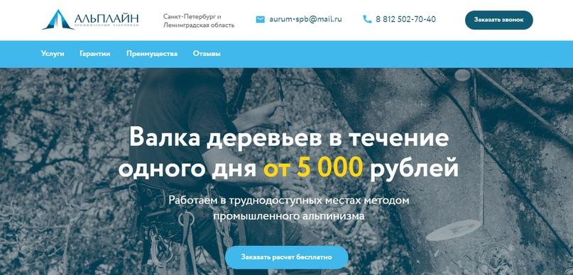 Сайт в нише валки деревьев методом промышленного альпинизма
