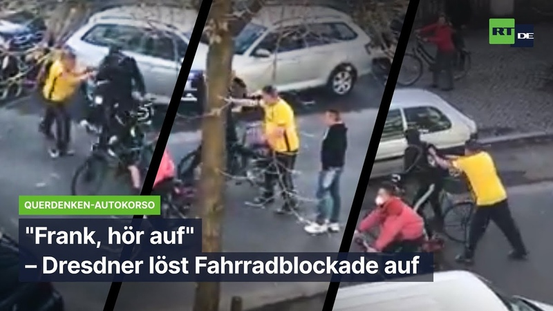 Frank hör auf Dresdner löst Fahrradblockade bei Querdenken Autokorso auf