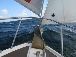 Fisher 25 - Tutak II sailing across the Morray firth from Wick to Peterhead.