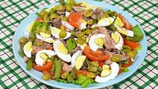 Вкусный и полезный САЛАТ с тунцом и фасолью. Лучший салат без майонеза - Нисуаз.