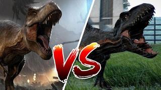 Битва динозавров. ТИРАННОЗАВР РЕКС против ИНДОРАПТОРА. Jurassic World Evolution . Динозавры