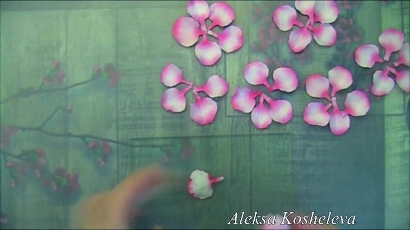 Украшение из фоамирана резиночка для волос МК Цветы сакуры DIY