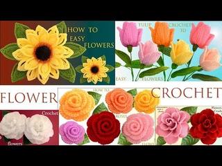 Como hacer Flores 3D con hojas Rosas Camelias Tulipanes Girasoles tejido a Crochet