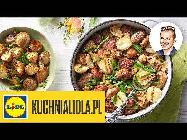 Łopatka wieprzowa z białą kiełbasą w miodowo-piwnej kapuście - Karol Okrasa - przepisy Kuchni Lidla