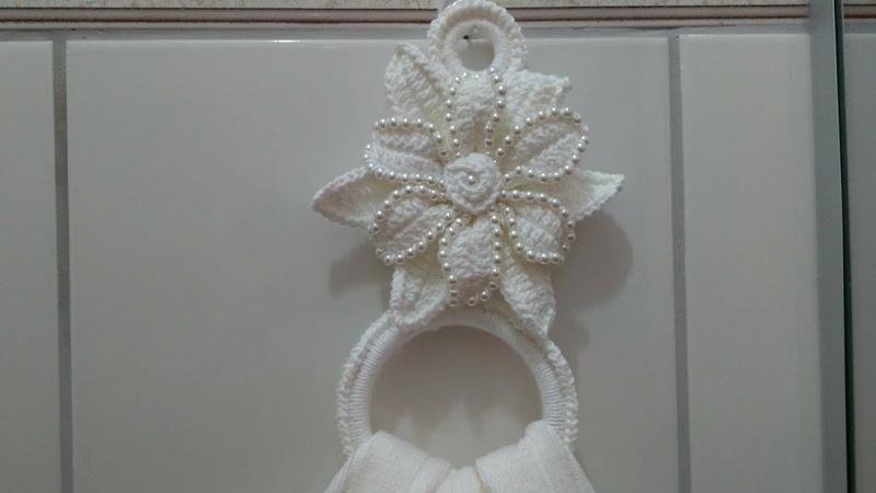 Porta guardanapos ou tolhas com p rolas em Crochê com Maria Jos .