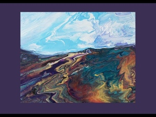 Fluid Acrylic Pouring, Tilted Swiped & Skewered Awesome Landscape Blue Sky Day #5360