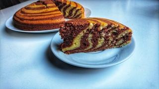 "Пирог ""ЗЕБРА"" на сметане: красиво и вкусно!"
