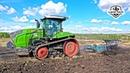 Один из первых в России - гусеничный трактор FENDT 943 Vario MT пашет зябь плугом LEMKEN Diamant 11
