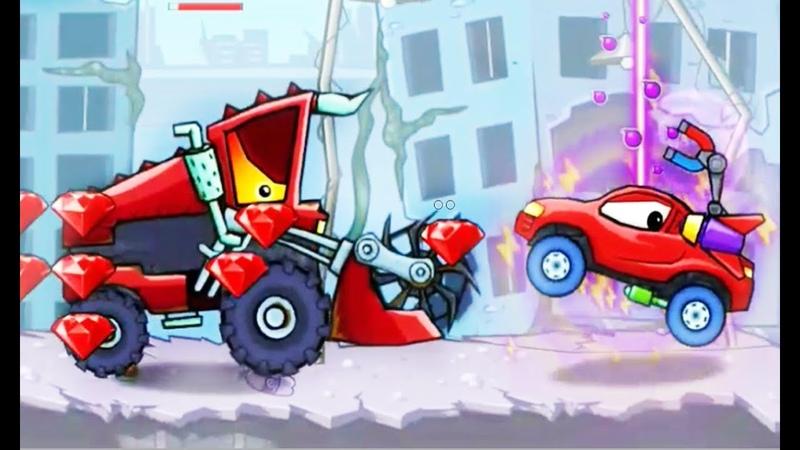 1-4 Арена ВСЛЕПУЮ! и БОСС Красный Комбайн в Car Eats Car прохождение Хищные машины