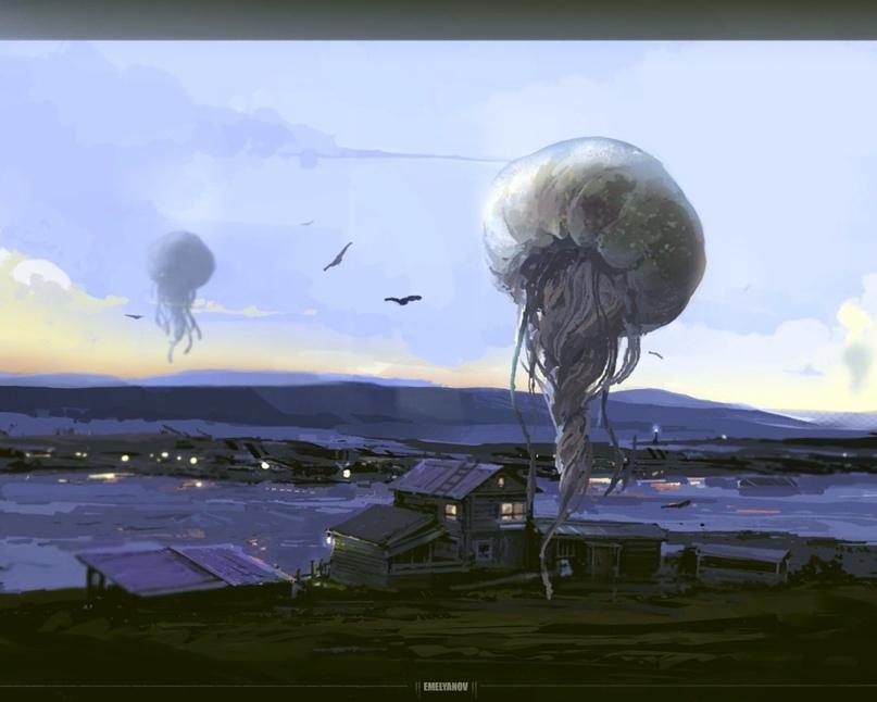 SCP-312, «Атмосферные медузы» , газовые организмы, питающиеся любыми крупными млекопитающими, в том числе людьми. Художник — Илья Емельянов; иллюстрация создана в рамках арт-проектаARTSCP