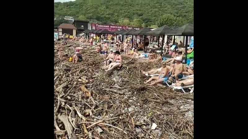 Пляж после шторма Архипо Осиповке Краснодарский край 9 09 2018