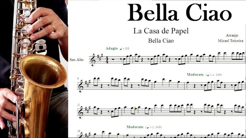 Bella Ciao La Casa de Papel Partitura Sax Alto Sheet Music