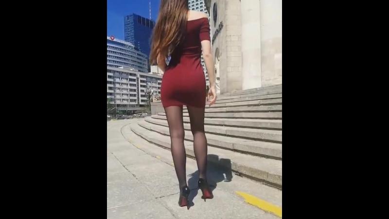 Ariadna Majewska Polish Model Warsaw Red Dress