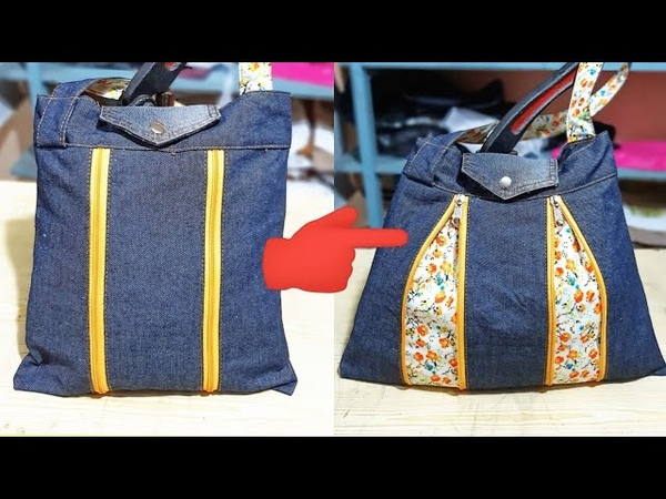 Reciclaje de Jeans Bolso estampado 2 modelos en 1 Tutorial
