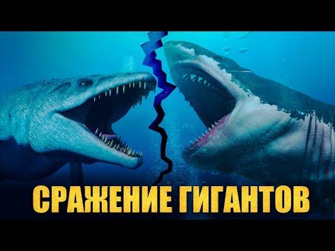 МОЗАЗАВР против МЕГАЛОДОНА Битва Самых Больших Существ в Океане