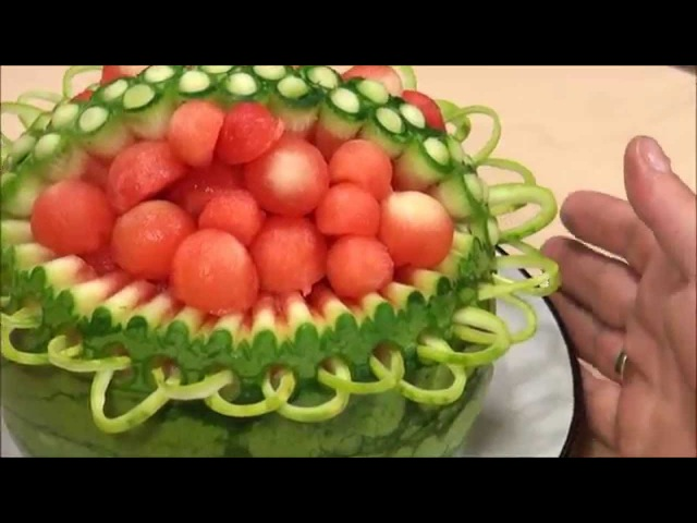 032 Fruit carving course watermelon basket Kurs carvingu kosz z arbuza