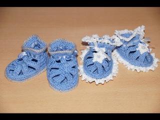 Вязание пинеток крючком  - шаг 1  /  Crochet knitting bootees - Step 1 - knitting soles