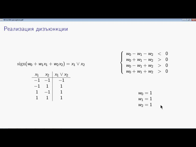 AIML 4 1 2 Персептрон и булевы функции