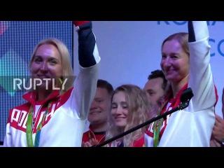 Бразилия: Российские Олимпийские медалисты заслуженные на Российских Фанаты Дома в Рио.