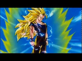 Goku se transforma em Super Sayajin 3 pela primeira vez.