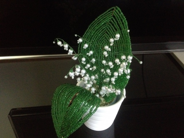 Maiglöckchen aus Glasperlen Perlenblumen Flowers out of beads