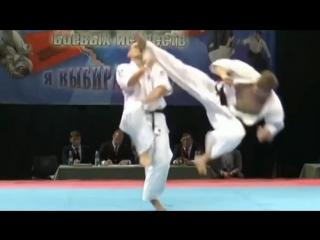WFKO Brutal knockout. Kyokushin karate. Tobi ushiro geri.