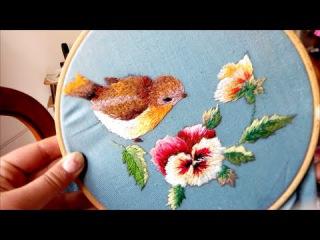 Trish Burr design - Bird & flowers embroidery   needle painting   ricamo