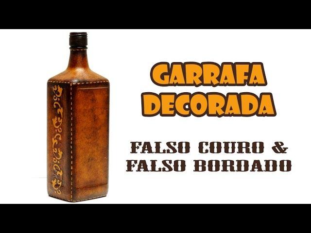 Garrafa Decorada com Pintura Falso Couro e Falso Bordado ARTESANATO DIY RECICLAGEM