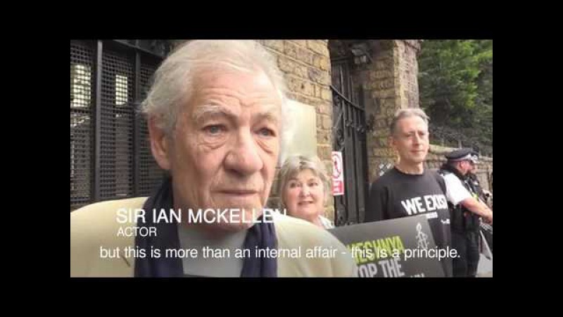 Sir Ian McKellen joins Russian embassy protest over Chechnya gay men 'purge'