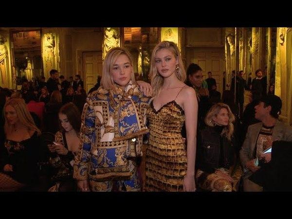 Nicola Peltz Sarah Snyder Caroline Vreeland and more front row for the Versace Fashion Show