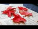 DIY How to make paper flower - Autumn leaf - by crepe paper - Làm lá phong giấy nhún