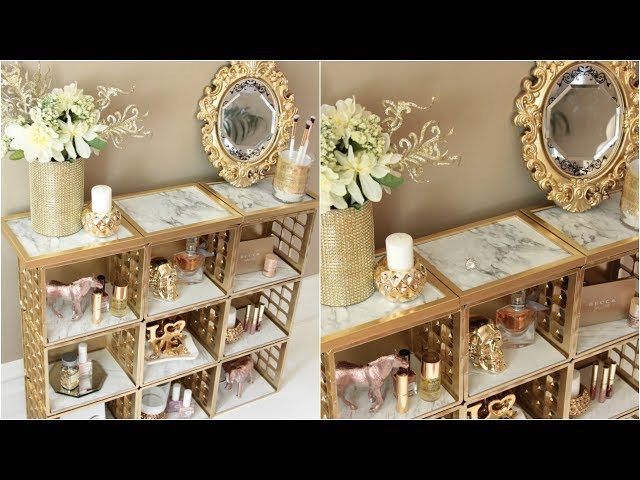DOLLAR TREE MARBLE AND GOLD ORGANIZER DIY
