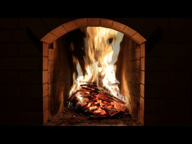 Crackling Fireplace Burning w Snow Storm Howling Wind Outside Relaxing Background Sounds HD