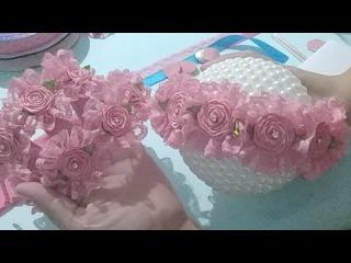 Coroa De flores Na Meia De Seda Com Renda Número 5
