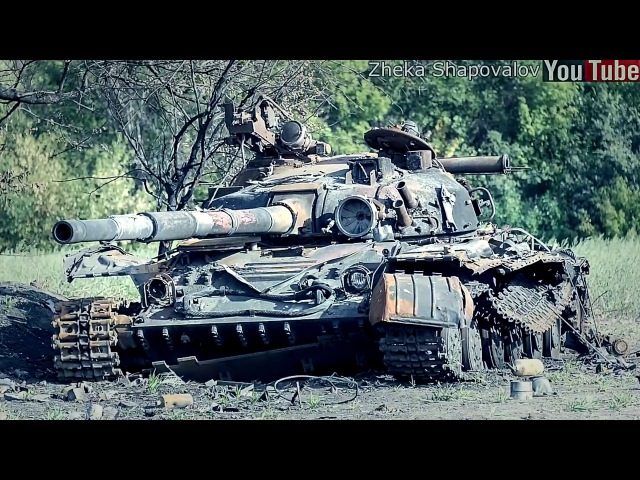 Destroyed and abandoned tanks of Donbass Ukraine pair of frames of Syria