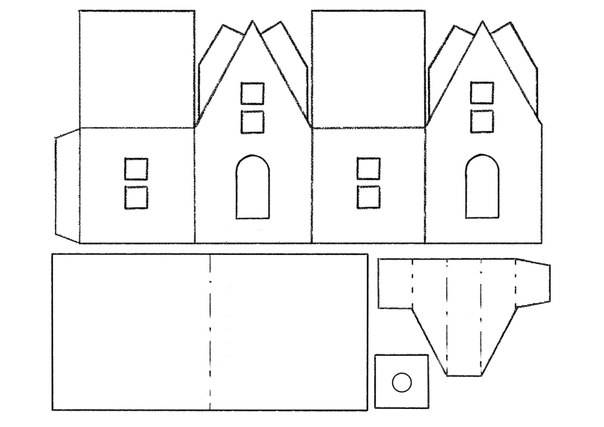 картинки шаблон бумажного домика с размерами несколько раз