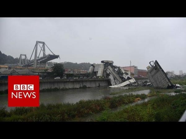 Italy bridge Moment of Genoa motorway collapse BBC News смотреть онлайн без регистрации