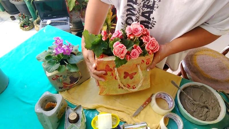 Vasos de caixas de suco e cimento (se inscreva e ative o sininho 😍)