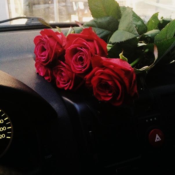Фото в машине с цветами зима