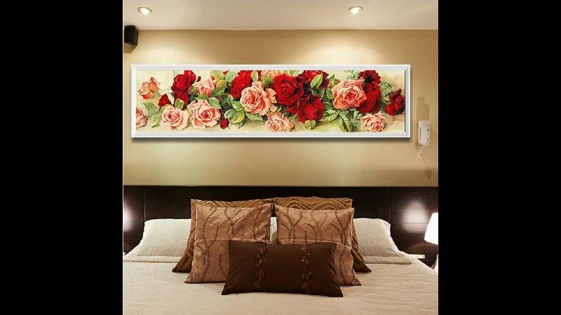 Алмазная мозаика Обзор Разноцветные розы вышивка стразами рукоделие обзор