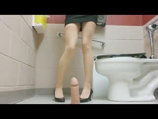 Maxisma aka elzbieta - work office bathroom stuff gag dildo cum (1080p) [amateur, petite teen, solo, masturbation]