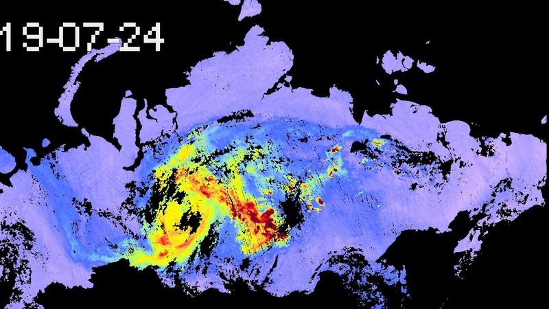 A Sentinel-5P által mért CO kibocsátás Oroszország felett