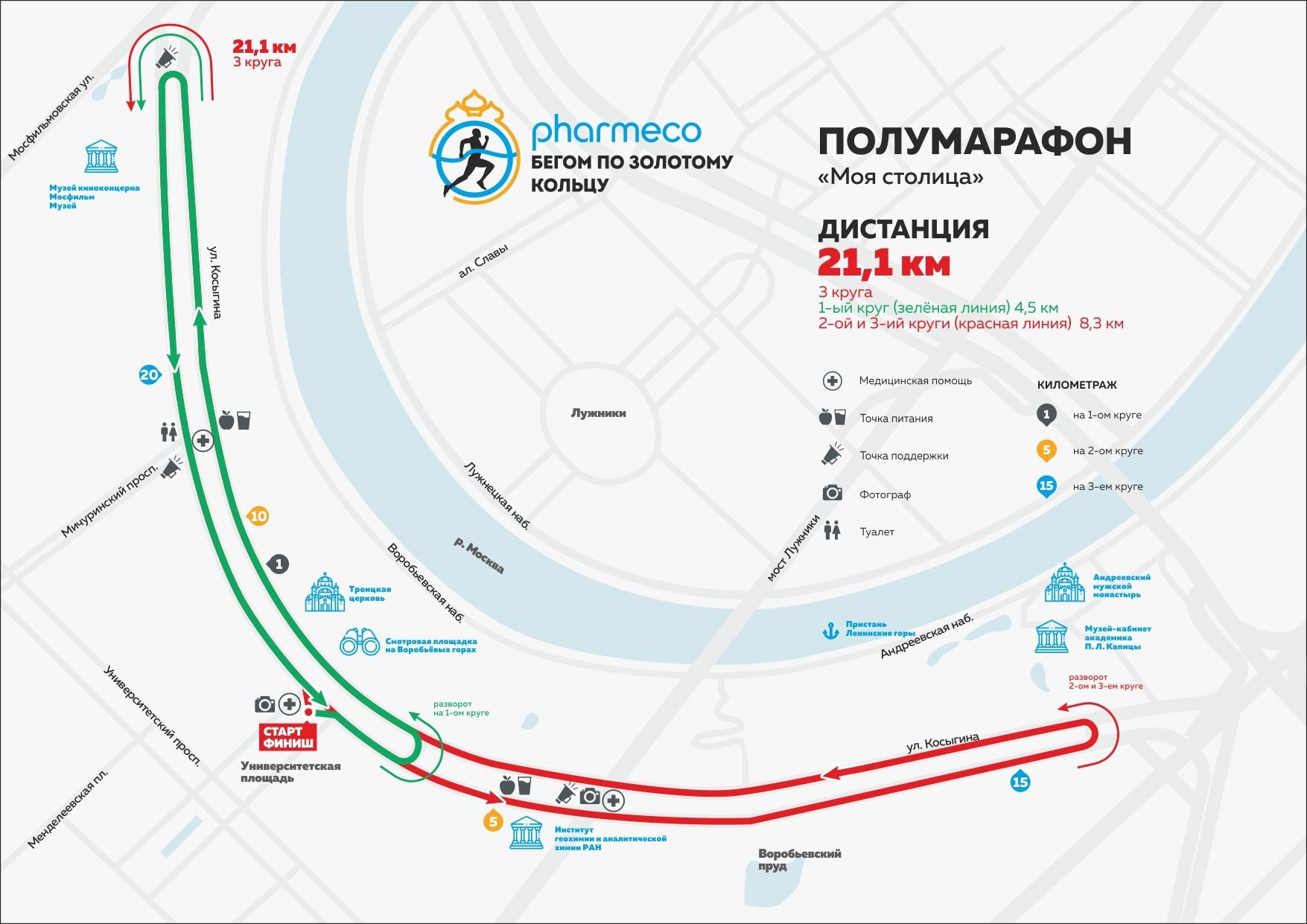 Карта-схема дистанции 21,1 км полумарафона в Москве - Моя столица 2019