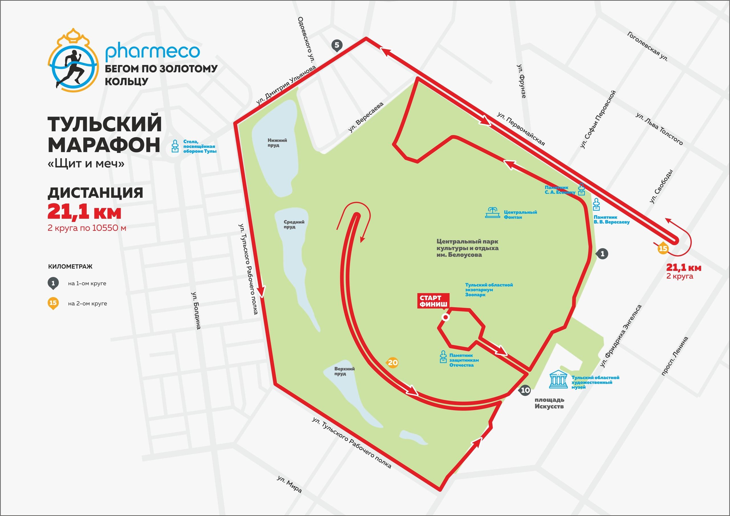 Дистанция 21,1 км Тульского марафона