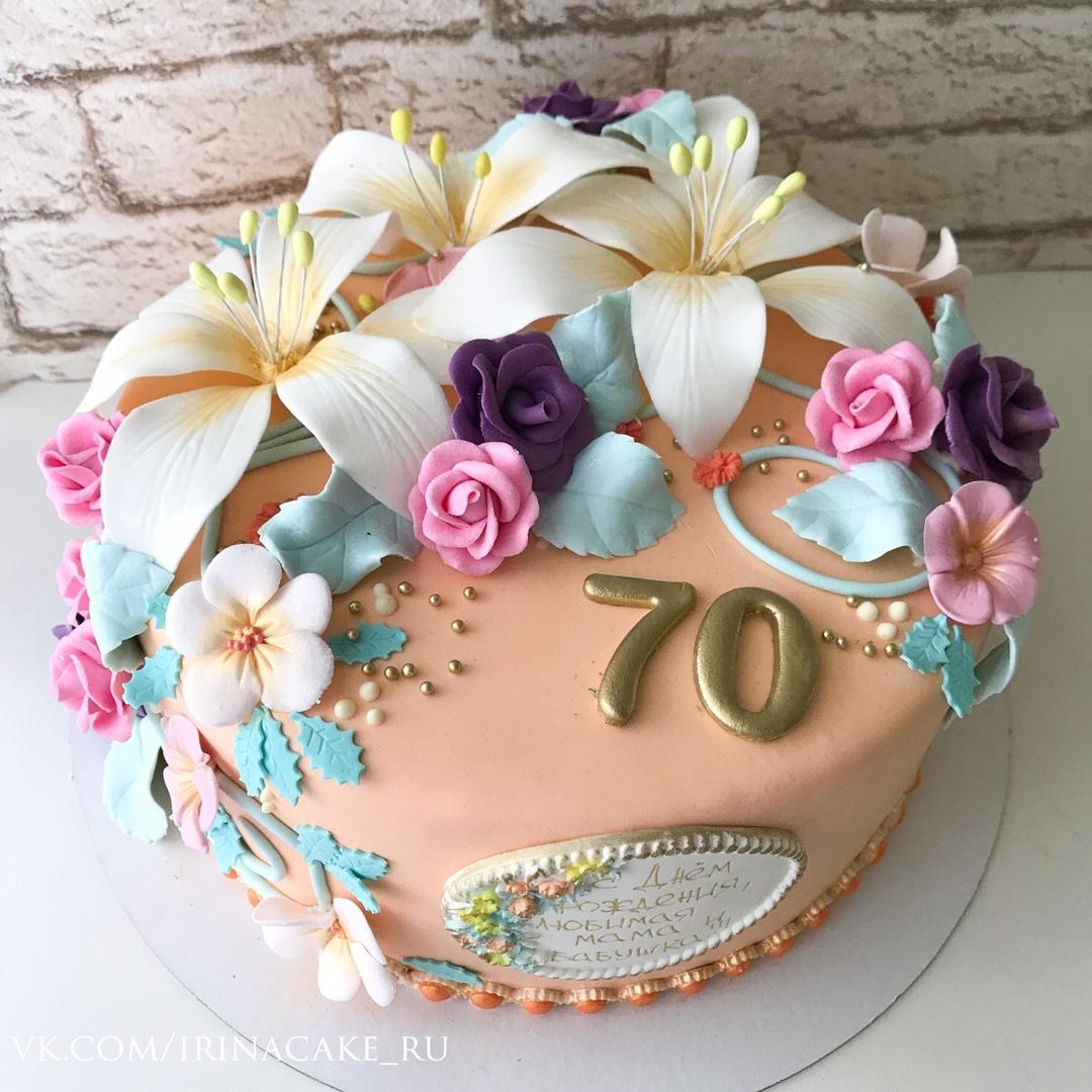 торт на 70 лет с цветами (Арт. 505)