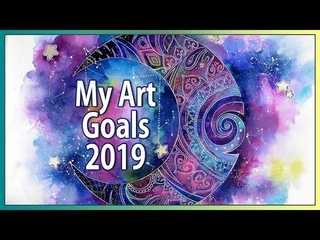 My Art GOALS 2019 ♦ Tribal moon design WATERCOLOR speed paint ♦ Space art by Sakuems