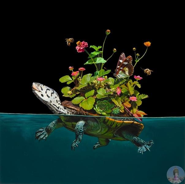 Лиза Эриксон (Lisa Ericson создаёт яркие акриловые картины с дивными животными, чьи тела украшает различная флора и