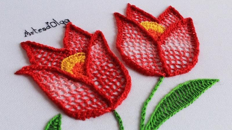 Bordado a Mano: Puntada Fantasía para Tulipanes | Artesd'Olga