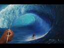 How to Paint Water A man Surfing with Beautiful wave Paint With Dilip Art